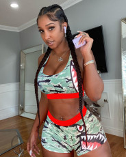 Casual Printed Tank Top Shorts Fitness 2 Piece Sets MOF-5163