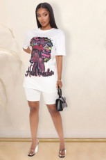 White Printed T Shirt And Shorts Two Piece Suits WZ-8272
