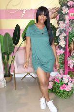 Plus Size Solid V Neck Ruched Irregular Mini Dress QY-5185