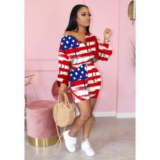 Plus Size America Flag Print Long Sleeve 2 Piece Shorts Set OYF-8198