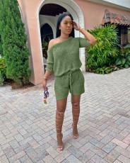 Solid Oblique Collar Two Piece Shorts Set BLX-7514
