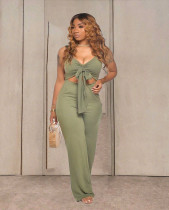 Solid Sleeveless Tie Up Backless Sexy Jumpsuits TR-1039