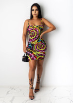 Plus Size Sexy Printed Spaghetti Strap Mini Dress SHD-9268