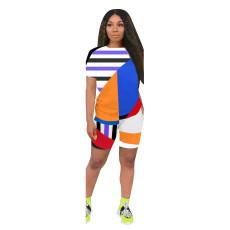 Geometric Striped Casual Two Piece Shorts Set AL-190
