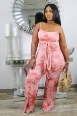 Tie Dye Sashes Spaghetti Strap One Piece Jumpsuits WSM-5152