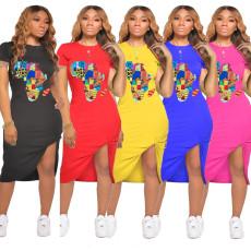 Plus Size Printed Ruched Irregular Midi Dress YNB-7091