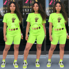 Fashion Casual Sports Printed Tops Shorts Two Piece Set WY-6698