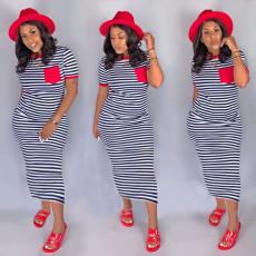 Casual Striped Short Sleeve Long Dress CM-749