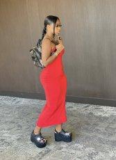 Solid Strapless Split Slim Maxi Tube Dress WSM-5161