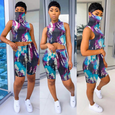Printed One-piece Mask Top Shorts Two Piece Set SH-3781