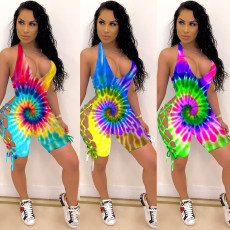 Sexy Tie Dye Halter Backless Hollow Rompers CM-748