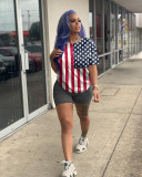 Casual Printed American Flag Short Sleeve Two Piece Set WY-6683