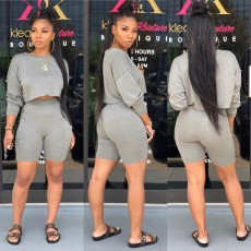 Solid Long Sleeve Sweatshirt Shorts 2 Piece Suits WY-6681