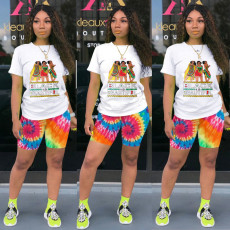 Casual Printed T Shirt And Shorts 2 Piece Sets KSN-5139