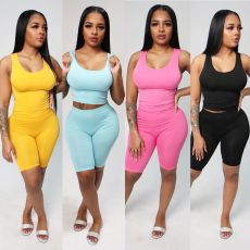Solid Tank Top And Shorts Two Piece Sets CH-8115