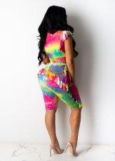 Tie Dye Ruffled Sleeveless Two Piece Shorts Set YM-9212