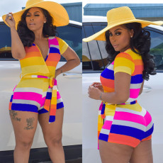 Rainbow Stripe V Neck Sashes One Piece Rompers MAE-2040