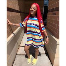 Colorful Stripe Short Sleeve Loose T Shirt Dress ORY-5158