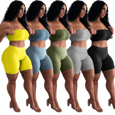 Solid Tube Top And Shorts Two Piece Sets ASL-6272