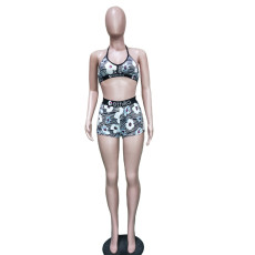 Floral Print Fitness Two Piece Shorts Set BN-9241