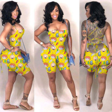 Cartoon Print Sexy Strappy Backless Rompers YN-1009