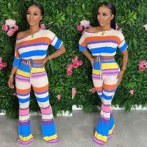 Colorful Stripe Oblique Collar Two Piece Pants Set FNN-8506
