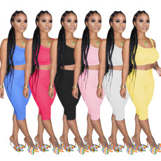 Solid Tank Top Shorts Tight Fitness Two Piece Sets TR-1046