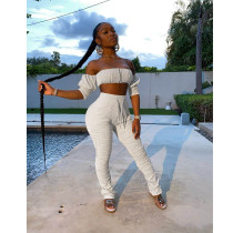 Sexy Off Shoulder Stacked Pants Two Piece Sets ASL-6275