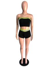 Sexy Striped Tube Top Mini Shorts 2 Piece Sets QZX-6136