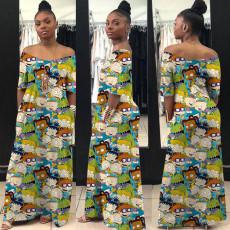 Cartoon Print V Neck Loose Maxi Dress YN-1010
