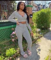 Plus Size Sexy Solid Color V Neck Top Folds Long Pants Suits CQ-028