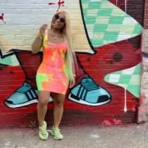 Sexy Slim Fashion Tie-dye Sleeveless Dress OJS-9217