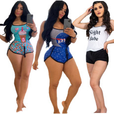 Sports Casual Print Sling Vest Shorts Two Piece Set CYAO-8556