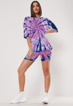 Plus Size Tie Dye T Shirt Shorts Two Piece Sets LX-2071