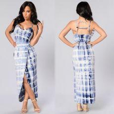 Tie Dye Print Sleeveless Backless Slip Long Dress LX-2072