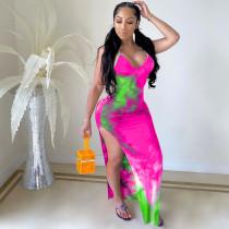 Sexy Tie-dye Backless Split Maxi Dress YH-5155