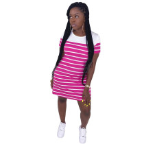 Casual Striped Short Sleeve T Shirt Dress HM-6320