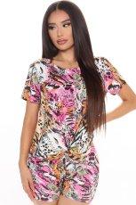 Casual Printed Short Sleeve 2 Piece Shorts Set LSL-6358