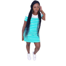 Casual Striped Short Sleeve T Shirt Dress HM-6320