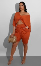 Solid Half Sleeve Pleated Two Piece Shorts Set WY-6688