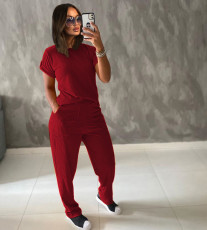 Solid Short Sleeve Two Piece Pants Set TR-1049