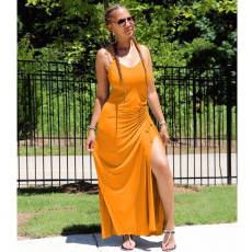 Solid Ruched High Split Sexy Maxi Slip Dress MYP-8922