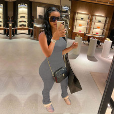 Copy Casual Solid Sleevelees Stacked Jumpsuits MN-9238