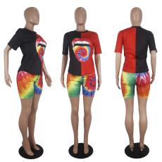 Casual Tie Dye Lips Print Two Piece Shorts Set SHD-9253