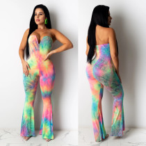 Sexy Tie Dye Strapless Boot Cut Jumpsuits CHY-1231