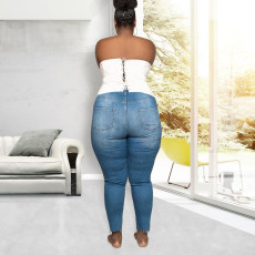 Fashion Plus Size 5XL Denim Trousers OSM2-6090