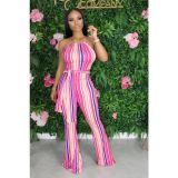 Fashion Striped Slim Flare Jumpsuit SFY-134