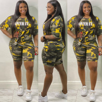 Plus Size 5XL Camouflage Letters Two Piece Set OSM2-4202