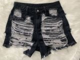 Denim Ripped Hole Skinny Jeans Shorts LSD-8695