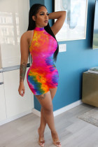 Tie Dye Print Sleeveless Bodycon Rompers NIK-139
